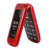 Uleway gsm Teléfono Móvil Simple para Ancianos con Teclas Grandes,SOS Botones,ácil de Usar telefonos basicos para Mayores (Rojo)