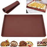 Tapete para Hornear de Silicona Estera de Horno Antiadherente Swiss Roll Mat Multifuncional Torta de Hornada de Pizza Pasteles Pad Bandeja de Herramientas para Cocina (Marrón, L)
