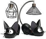 ZSNB 2 piezas de figuras de gatos de servicio de entrega de Kiki, gatos negros de Studio Ghibli Miyazaki con lámpara de noche figura de acción juguetes for niños regalo for decoración del jardín del h