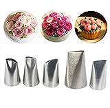 NiceMeet 5 Piezas Acero Inoxidable Flores Pétalo Boquillas Set para Pastelera - Rosa Boquillas de Pastelería para Crema de la Torta, Decoracion de pasteles, Hornear Galletas, Cupcakes