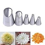 DUORUI 5 boquillas de glaseado para decoración de tartas, de acero inoxidable, para hacer flores, pétalos de crisantemo