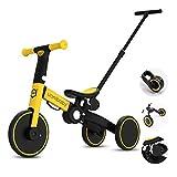 OLYSPM 5 en 1 Bicicleta sin Pedales para Niños,Triciclos Bebes,Triciclos para Niños de 1.5 a 5 Años,función Silla de Paseo,sillín Ajustable,Lindo de Regalo Favorito del Niño(Amarillo)