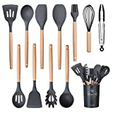 Utensilios Cocina de Silicona Comfook Set de 12 Juego de utensilios de cocina de silicona Antiadherente con Mango de Madera para Utensilios,resistente al calor,sin BPA, antiarañazos,gris