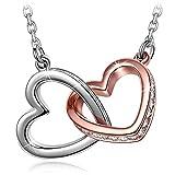 Kami Idea Dia De La Madre - Mi Destino - Colgante de Corazón a Corazón, Cristales, Paquete de Regalo, Regalos Originales para Mujer, Collar para Ella