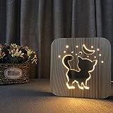 Lámpara de noche con forma de gato en 3D de madera para cuidado de los ojos, lámpara de mesa con USB, LED, lámpara de lectura para bebé, habitación de los niños, sala de estar