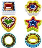 Olywee - Juego de cortadores de galletas de plástico con forma de estrella (forma de corazón cuadrado, redondo, sin BPA, 25 unidades)