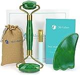 Rodillo de Jade Verde, Gua Sha y Pincel - Set de Masaje Facial en Piedra 100% Natural - Masajeador Anti Arrugas, Reducción de Ojeras, Desinflama, Intensifica Tratamientos de Belleza para el Rostro
