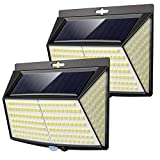 Vighep Luz Solar Exterior 228 LED,【2 Pack / 3 Modos】270 °lluminación Focos Solares Exterior con Sensor de Movimiento Impermeable Luces Solares LED Exterior Jardin Luces Led Solares Para Exteriores