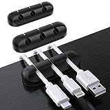 SOULWIT® 3 Pcs Autoadhesivo Organizador de Cable, Clips para Cables Duraderos, Sistema de Gestión de Cable para escritorio Cable de carga USB Cable de alimentación Cable de ratón Cable PC Office