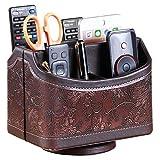 Soporte para mando a distancia de piel sintética con rotación de 360 grados, Multifunción organizador ,caja de almacenamiento para dispositivos multimedia, papelería, soporte de TV