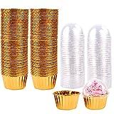 moldes para Magdalenas 100pcs Tazas para Hornear Estuches para Hornear Muffins metálicos Forros para Magdalenas Envoltorios de Papel para Pasteles Estuches para Muffins de Aluminio Tazas (Gold)
