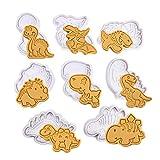 Olywee Juego de cortadores de galletas de dinosaurio, 8 piezas de moldes de galletas de chocolate con dinosaurio, cortador de galletas de plástico 3D para decoración de pasteles