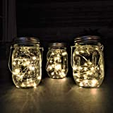 Gadgy ® Lámpara Solar Mason Jar Tarro Cristal Set Luces de Hadas | 3 Pzs | 20 LED's Luz Blanca Cálida | Jarra Jardín Exterior Interior Colgar Farol