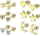 RUICHUANGS Pendientes Mujer Plata, Pendientes Piercing Oreja, Piercing Oreja Acero Quirurgico, Estrella Luna y Corazón, 6 Pares