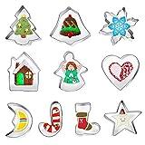 FINEVERNEK Set de 10 piezas Cortadores de Galletas Navidad Invierno para Galletas Moldes de Acero Inoxidable Cortador de Galletas Navidad Cortadores Galletas
