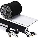Organizar cables 4m, GeeRic Neopreno Flexible Funda para Manejo De Cables, Impermeable, DIY Cortable y Ajustable, Protector de Cable para Escritorio, Oficina, Mesa, TV.