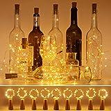 luz de Botella, Litogo luz Corcho, luces led para Botellas de Vino 2m 20 LED a Pilas Decorativas Cobre Luz para Romántico Boda, Navidad, Fiesta, Hogar, Exterior, Jardín,Blanco Cálido(9 Pack)