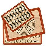 Amazon Brand - Eono Juego de 3 Tapete de Silicona para Hornear - Estera de Horno Antiadherente, Lámina de Horno para Macarons Pizza Pan, Ecológico y Reutilizable, esistentes al Calor, con Medidas