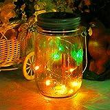 Solar Mason Jar Lámpara,Cubierta Eléctrica Accionada del Tarro de Cristal, Lámpara Colgante Decorativa al Aire Libre,Linterna de Hadas 10LED de la Secuencia Para la Boda del Jardín del Partido